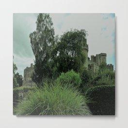 Warwick Castle Bathed in Green Light Metal Print