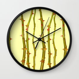 THORN BUSH CANES ABSTRACT IN YELLOW ART Wall Clock