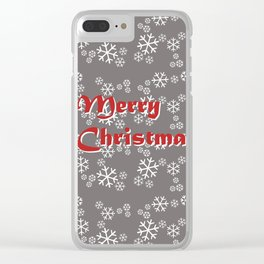 White snowflakes Merry Christmas silver Clear iPhone Case