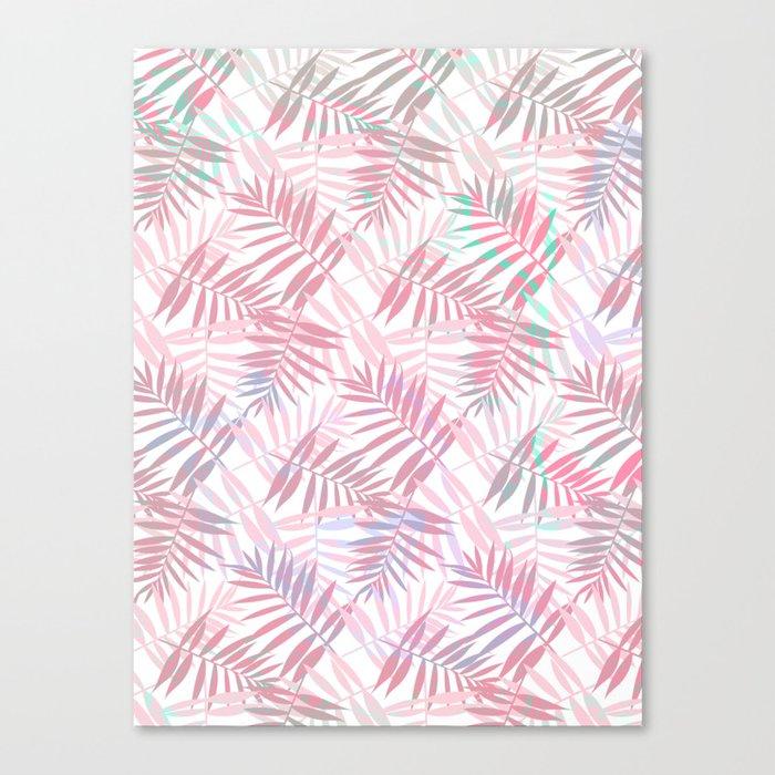 Pastel Color Palms Pattern Canvas Print