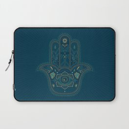 Hamsa Hand in Blue and Gold Laptop Sleeve