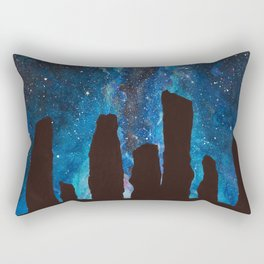 Outlander Craigh Na Dun Standing Stones Watercolor Painting with milky way galaxy Rectangular Pillow
