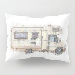 vintage camping bus painting illustration Pillow Sham