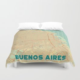 Buenos Aires Map Retro Duvet Cover