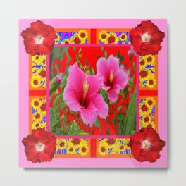 TROPICAL RED-PINK HIBISCUS FLOWERS PATTERNS Metal Print