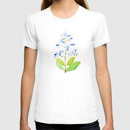 blue butterfly flowers watercolor T-shirt