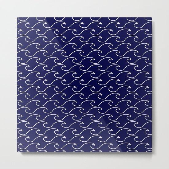 sea waves - white on darkblue pattern - Martitime Design Metal Print
