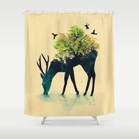 forest Shower Curtains featuring Watering (A Life Into Itself) by Picomodi
