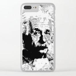 Albert Einstein - schwarz-weiß Clear iPhone Case