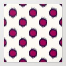 Ikat Dots Raspberry Plum Canvas Print