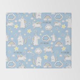 I'm a Unicorn - blue Throw Blanket