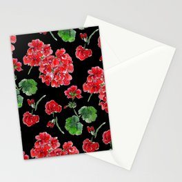 Red Geranium with black background Stationery Cards