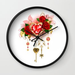 Ruby Heart with Roses Wall Clock
