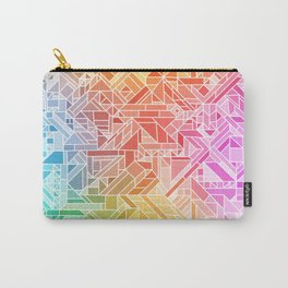 BRIGHT VIBRANT GRADIENT GEOMETRIC SHAPES RAINBOW PRINT TILED MOSAIC TIE DYE COLORFUL Carry-All Pouch