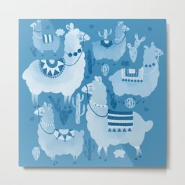 Alpacas and cacti Metal Print