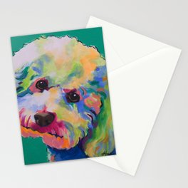 Bichon Poodle Pet Portrait Stationery Cards