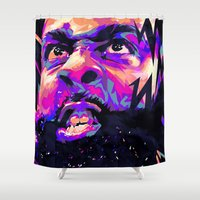 nba Shower Curtains featuring JAMES HARDEN: NBA ILLUSTRATION V2 by mergedvisible