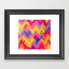 BOLD QUOTATION - Bright Vibrant Neon Quote Chevron Pattern Ikat Rainbow Trendy Design Fun Art Framed Art Print