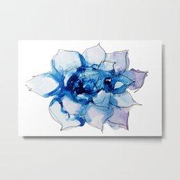 Blue Echeveria Succulent Metal Print