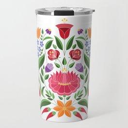 Hungarian folk pattern – Kalocsa embroidery flowers Travel Mug