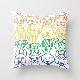 "Rainbow Dogs (Sibling to ""Rainbow Cats"") Throw Pillow"
