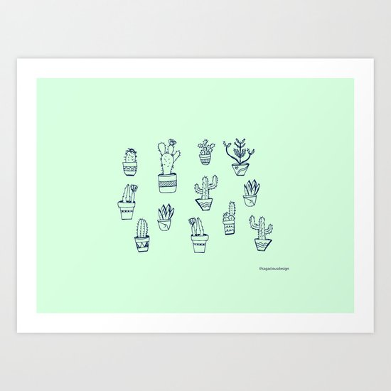 Cactus and Mint Art Print