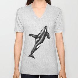 Orca killer whale ink art Unisex V-Neck