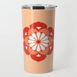 Lotus Flower Mandala, Pastel Orange and Mandarin Travel Mug