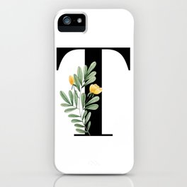T Floral Letter Initial iPhone Case