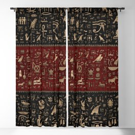 Ancient Egyptian hieroglyphs - Black and Red Leather and gold Blackout Curtain