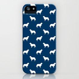 Golden Retriever dog silhouette navy and white minimal basic dog lover pattern iPhone Case