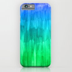 Turquoise, Lime & Indigo Watercolor Abstract   iPhone 6 Slim Case