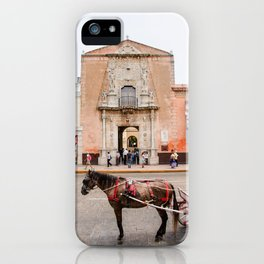 Horse Carriage in Downtown Merida, Mexico iPhone Case
