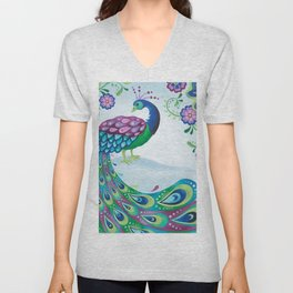 Flaunting It Peacock Unisex V-Neck