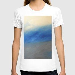 Skyline Ocean Beach Summer Original Painting by Jodi Tomer Blue Gray T-shirt