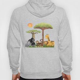 Watercolor Safari Animals Under Exotic Baobab Tree Hoody