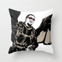 falcon Throw Pillows featuring Falcon by Irene Flores