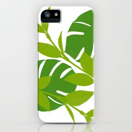 Simply Tropical Leaves with White background iPhone Case
