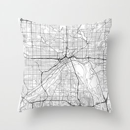 St Paul Map White Throw Pillow