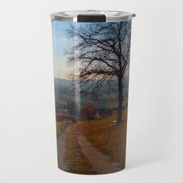 Tree, trail and indian summer evening   landscape photography Travel Mug