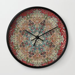 Antique Red Blue Black Persian Carpet Print Wall Clock