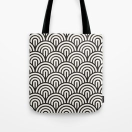 black & white geometric pattern mid century modern fish scales art deco pattern Tote Bag