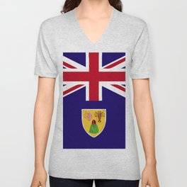 Turks and Caicos Islands flag emblem Unisex V-Neck