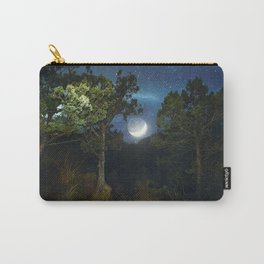 Moonset in coniferous forest Carry-All Pouch