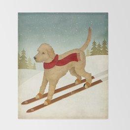 Doodle Schnoodle Whoodle Labradoodle Goldendoodle Ski Dog Throw Blanket