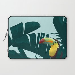 Green Toucan Tropical Banana Leaves Pattern Laptop Sleeve