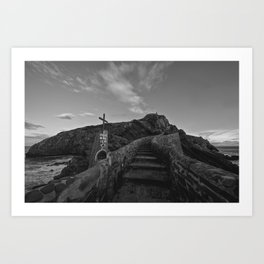 Access by stairs to the hermitage of San Juan de Gaztelugatxe in black and white Art Print