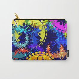 Texture of bright colorful and blue gears and laurel wreaths in kaleidoscope style on a dark blue ba Carry-All Pouch