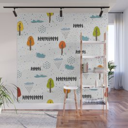Seamless Pattern with Cute Trees and Fences Wall Mural