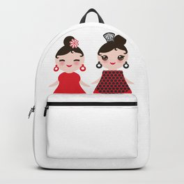 Spanish Woman flamenco dancer. Kawaii cute face with pink cheeks and winking eyes. Gipsy girl Backpack